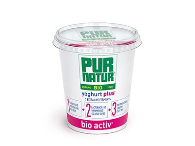 Pur Natur bio activ Organic full-fat set yoghurt with extra live cultures in a resealable 700g pot.