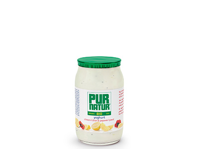 Pur Natur Lemon & poppy yogurt in a 150g glass pot